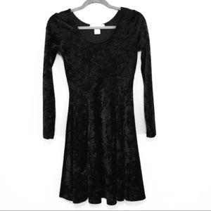 Black crushed velvet long sleeve dress
